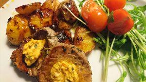 Kalvfilé med ugnsrostad potatis arrabbiata