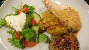 Helstekt kyckling med mangochutney och ingefära